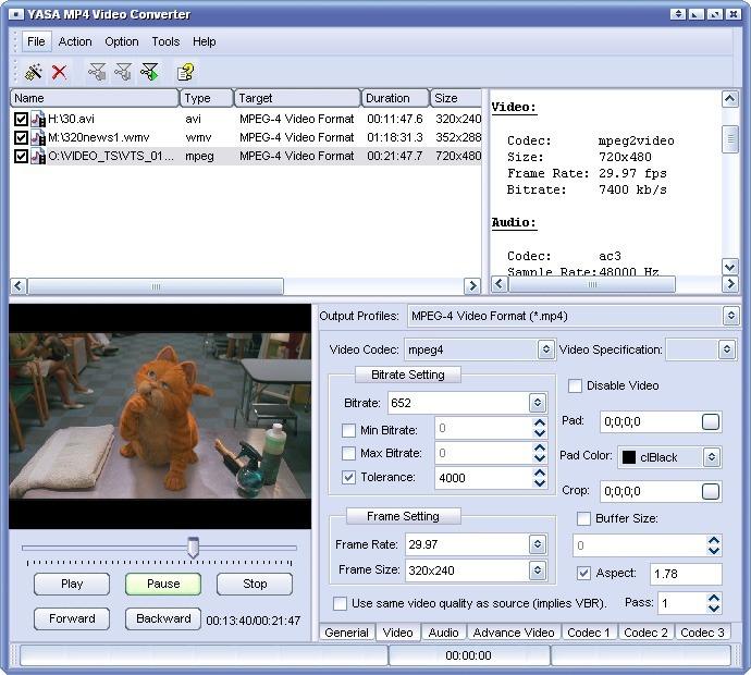 Скриншоты программы YASA MP4 Video Converter.