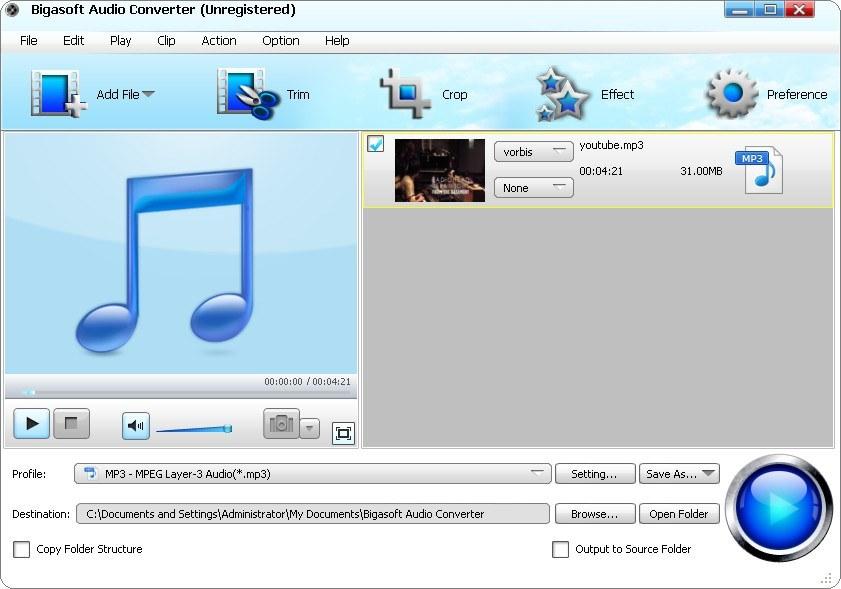 Bigasoft Audio Converter 3.7.2.4584 + Portable (2012) Российский находится.