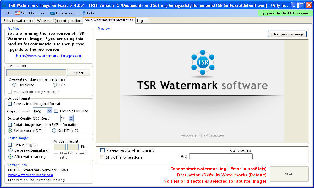 TSR Watermark Image software - Free version